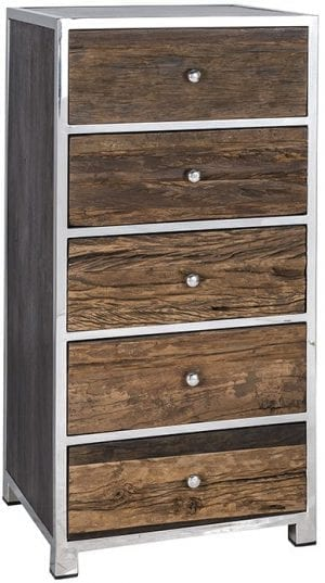 Ladenkast Kensington 5-laden  RVS/Recycled hout, uit de Shiny Kensington collectie - Ladenkasten - Löwik Wonen & Slapen Vriezenveen