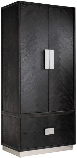 Linnenkast Blackbone silver 2-deuren 2-laden  Frame: Eiken / RVS, uit de Blackbone Silver collectie - Kasten - Löwik Wonen & Slapen Vriezenveen