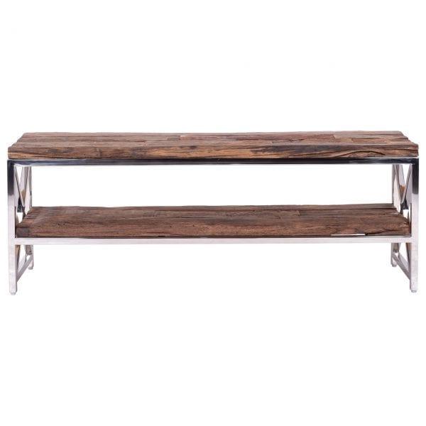 TV-Dressoir Kensington 2-planken  RVS/Recycled hout, uit de Shiny Kensington collectie - TV-meubels - Löwik Wonen & Slapen Vriezenveen