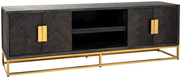 TV-dressoir 185 Blackbone goud 4-deuren  Top: Eiken