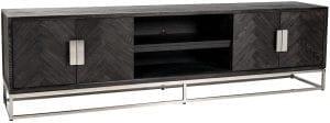 TV-dressoir 220 Blackbone silver 4-deuren  Top: Eiken