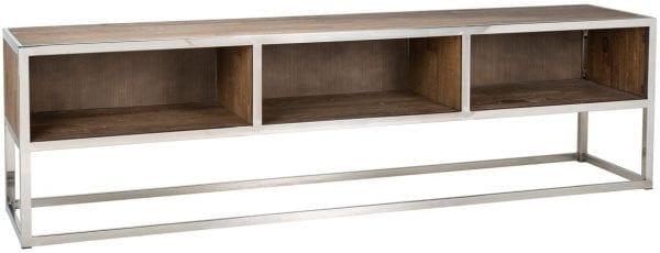 TV-dressoir Maddox met 3 open vakken  Top: Gerecycled Elm hout