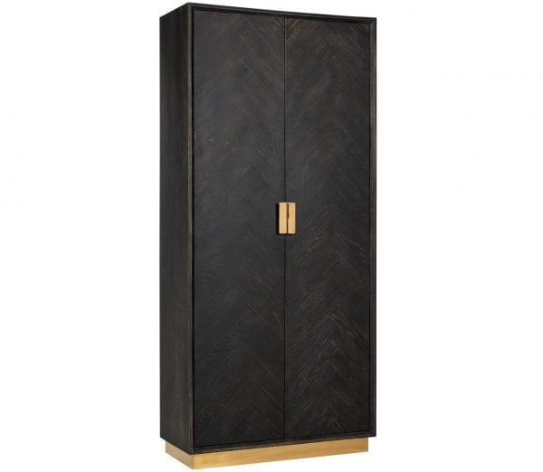 Wandkast Blackbone goud 2-deuren hoog  Top: Oak