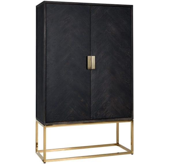 Wandkast Blackbone goud 2-deuren laag  Top: Oak