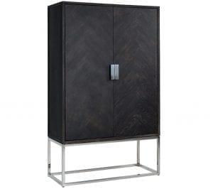 Wandkast Blackbone silver 2-deuren laag  Top: Oak