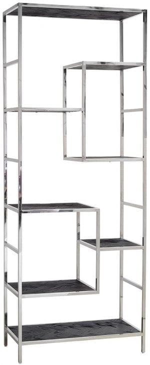 Wandkast Blackbone silver 7-planken Zilver Top: Oak