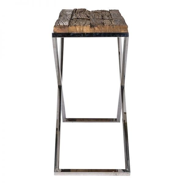 Wandtafel Kensington 140x40  RVS/Recycled hout, uit de Shiny Kensington, Bestsellers collectie - Wandtafels - Löwik Wonen & Slapen Vriezenveen