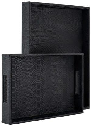 Dienblad Blane zwart croco set van 2  MDF/Rexeene, uit de Richmond Decoration collectie - Accessoires - Löwik Wonen & Slapen Vriezenveen