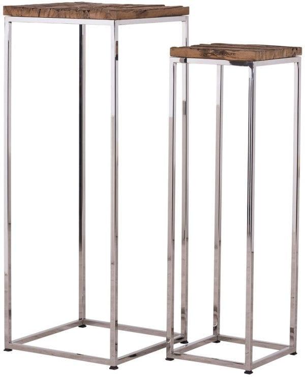 Pilaar Kensington set of 2  RVS/Recycled hout, uit de Shiny Kensington collectie - Klein meubels - Löwik Wonen & Slapen Vriezenveen