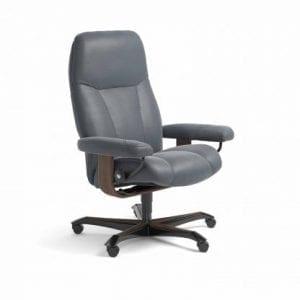 Stressless Consul relaxfauteuil - leder Batick atlantic blue - maatvoering M - Bureaustoel met wieltjes - Lowik Wonen & Slapen fauteuil collectie