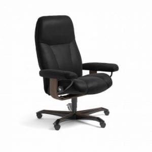 Stressless Consul relaxfauteuil - leder Batick black - maatvoering M - Bureaustoel met wieltjes - Lowik Wonen & Slapen fauteuil collectie