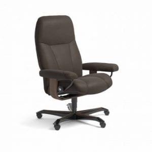 Stressless Consul relaxfauteuil - leder Batick brown - maatvoering M - Bureaustoel met wieltjes - Lowik Wonen & Slapen fauteuil collectie