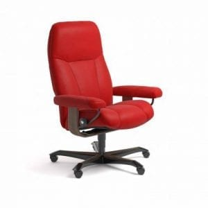 Stressless Consul relaxfauteuil - leder Batick chilli red - maatvoering M - Bureaustoel met wieltjes - Lowik Wonen & Slapen fauteuil collectie