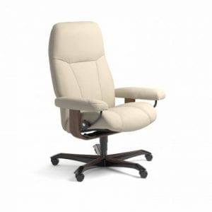 Stressless Consul relaxfauteuil - leder Batick cream - maatvoering M - Bureaustoel met wieltjes - Lowik Wonen & Slapen fauteuil collectie