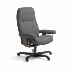 Stressless Consul relaxfauteuil - leder Batick grey - maatvoering M - Bureaustoel met wieltjes - Lowik Wonen & Slapen fauteuil collectie