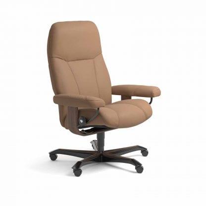 Stressless Consul relaxfauteuil - leder Batick latte - maatvoering M - Bureaustoel met wieltjes - Lowik Wonen & Slapen fauteuil collectie