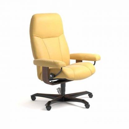 Stressless Consul relaxfauteuil - leder Batick mimosa - maatvoering M - Bureaustoel met wieltjes - Lowik Wonen & Slapen fauteuil collectie