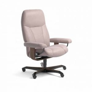 Stressless Consul relaxfauteuil - leder Batick smoke rose - maatvoering M - Bureaustoel met wieltjes - Lowik Wonen & Slapen fauteuil collectie