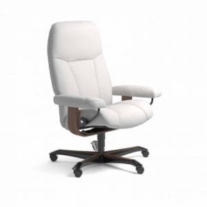 Stressless Consul relaxfauteuil - leder Batick snow - maatvoering M - Bureaustoel met wieltjes - Lowik Wonen & Slapen fauteuil collectie
