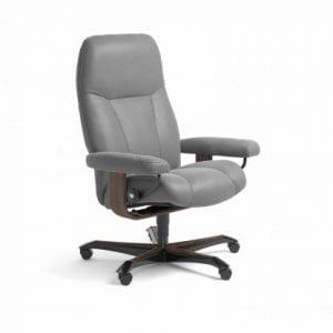 Stressless Consul relaxfauteuil - leder Batick wild dove - maatvoering M - Bureaustoel met wieltjes - Lowik Wonen & Slapen fauteuil collectie