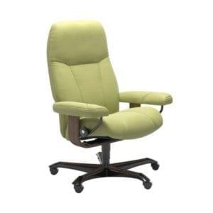 Stressless Consul relaxfauteuil - leder Paloma amber green - maatvoering M - Bureaustoel met wieltjes - Lowik Wonen & Slapen fauteuil collectie