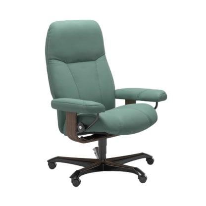 Stressless Consul relaxfauteuil - leder Paloma aqua green - maatvoering M - Bureaustoel met wieltjes - Lowik Wonen & Slapen fauteuil collectie
