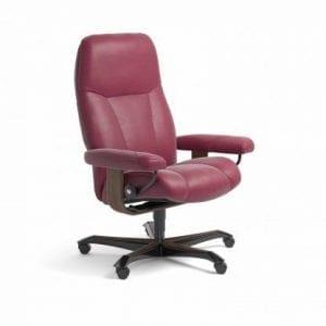 Stressless Consul relaxfauteuil - leder Paloma beet red - maatvoering M - Bureaustoel met wieltjes - Lowik Wonen & Slapen fauteuil collectie