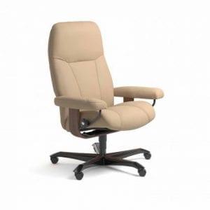 Stressless Consul relaxfauteuil - leder Paloma beige - maatvoering M - Bureaustoel met wieltjes - Lowik Wonen & Slapen fauteuil collectie