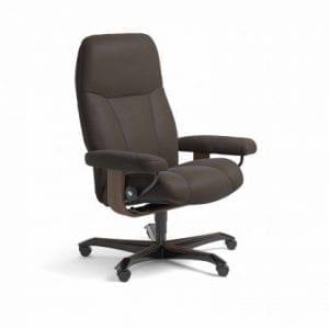 Stressless Consul relaxfauteuil - leder Paloma chestnut - maatvoering M - Bureaustoel met wieltjes - Lowik Wonen & Slapen fauteuil collectie