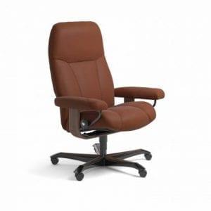 Stressless Consul relaxfauteuil - leder Paloma copper - maatvoering M - Bureaustoel met wieltjes - Lowik Wonen & Slapen fauteuil collectie