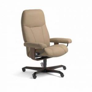 Stressless Consul relaxfauteuil - leder Paloma funghi - maatvoering M - Bureaustoel met wieltjes - Lowik Wonen & Slapen fauteuil collectie