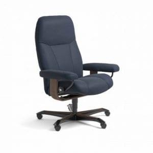 Stressless Consul relaxfauteuil - leder Paloma oxford blue - maatvoering M - Bureaustoel met wieltjes - Lowik Wonen & Slapen fauteuil collectie