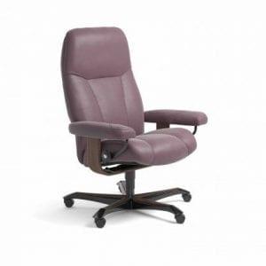 Stressless Consul relaxfauteuil - leder Paloma purple plum - maatvoering M - Bureaustoel met wieltjes - Lowik Wonen & Slapen fauteuil collectie