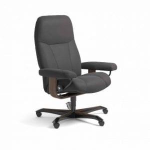 Stressless Consul relaxfauteuil - leder Paloma rock - maatvoering M - Bureaustoel met wieltjes - Lowik Wonen & Slapen fauteuil collectie