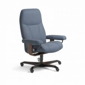 Stressless Consul relaxfauteuil - leder Paloma sparrow blue - maatvoering M - Bureaustoel met wieltjes - Lowik Wonen & Slapen fauteuil collectie