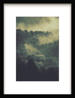 Green Foggy Forest wandkleed Urban Cotton, design  - Enhanced Matte Fine Art Paper