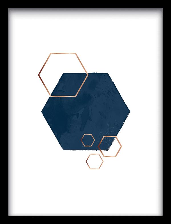 Hexagon overlap wandkleed Urban Cotton, design  - Enhanced Matte Fine Art Paper