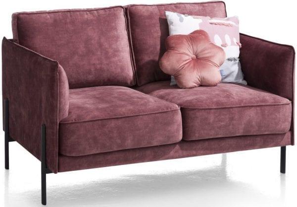 Modena 2-zitsbank in stof Karese burgundy red XOOON Lowik Wonen & Slapen