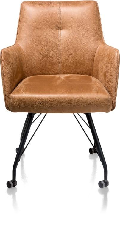 Bodil armstoel met wielen - met pocketvering + handgreep - stof Rocky Cognac metaal en polyether