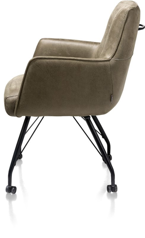 Bodil armstoel met wielen - met pocketvering + handgreep - stof Rocky Groen metaal en polyether
