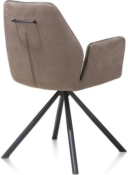 Armstoel Kane uit de Xooon stoelen collectie, uitgevoerd met zwarte metalen kruispoot
