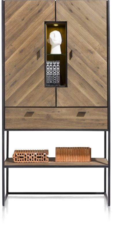 Fresno bergkast 100 cm. - 2-deuren (visgraat fineer) + 1-lade + 3-niches (+ LED) XOOON Lowik Wonen & Slapen