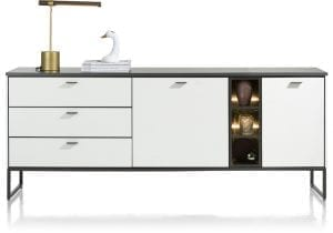 Bogota dressoir 200 cm - 2-deuren + 3-laden + 3-niches (+ LED) ombouw melamine wit