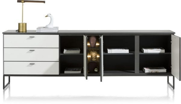 Bogota dressoir 240 cm - 3-deuren + 3-laden + 1-niche (+ LED) ombouw melamine wit