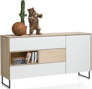 Darwin dressoir 1-deur + 3-laden + 1-niche - 160 cm (+ LED) ombouw: eiken fineer naturel
