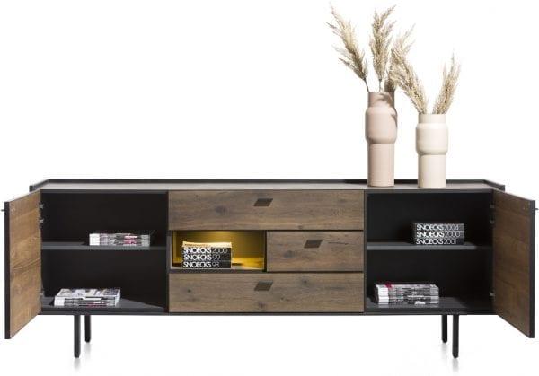 Fresno dressoir 220 cm. - 2-deuren + 3-laden + 1-niche (+ LED) XOOON Lowik Wonen & Slapen