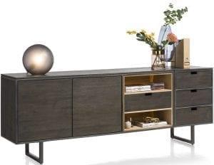 Moniz dressoir van Xooon, uitgevoerd in eiken fineer kleur carbon - modern betaalbaar design!