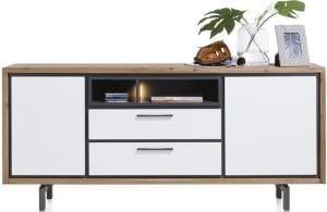 Otta meubels Xooon, modern woonprogramma voorzien van witte fronten i.c.m. warm hout