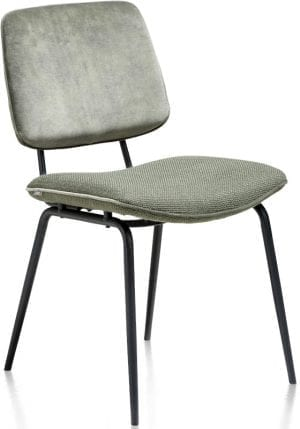Novali eetkamerstoel - frame off black - rug in Caress & zit in Vito green XOOON Lowik Wonen & Slapen