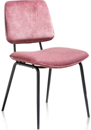Novali eetkamerstoel - frame off black - rug in Caress & zit in Vito red XOOON Lowik Wonen & Slapen